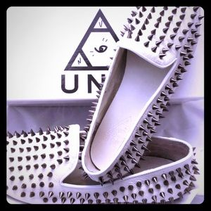 Unif hellraisers white loafers w spikes